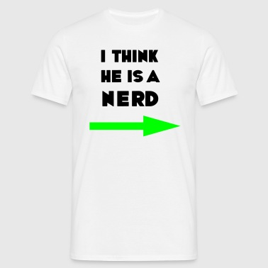 Myślę, że jest frajerem, geek, freak, haker, freak komputer, - Koszulka męska