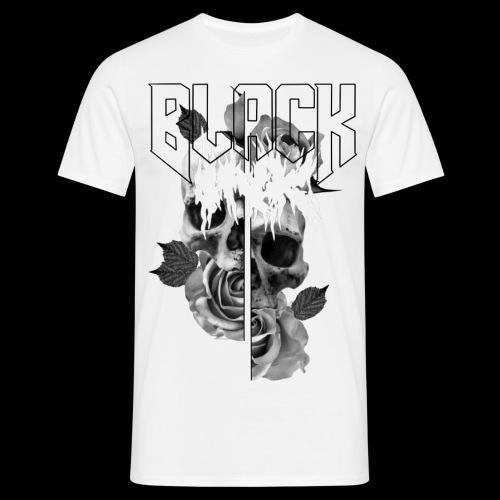 Black ink skull and rose - T-shirt herr