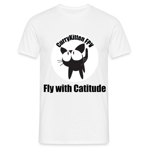 CurryKitten Logo - Fly with Catitude - Men's T-Shirt