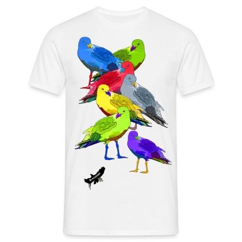 Seagulls by BlackenedMoonArts, with logo - Herre-T-shirt