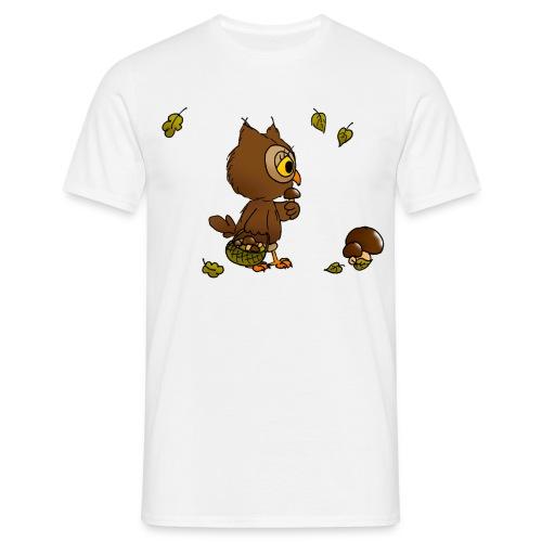 Eule sucht Pilze - Männer T-Shirt