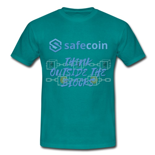SafeCoin; think outside the blocks (blue) - Men's T-Shirt