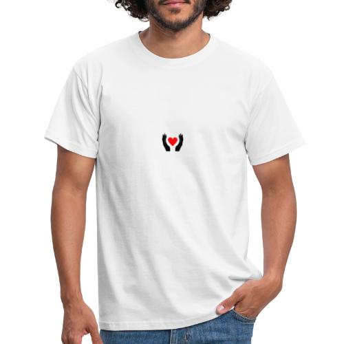 Schwarze Hände die rotes Herz halten - Männer T-Shirt