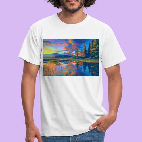 Paesaggio al tramonto con laghetto stilizzato - Maglietta da uomo