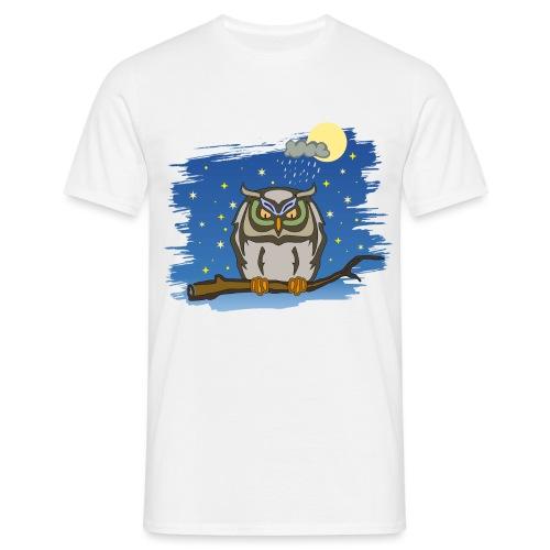 Eule Uhu Nachtschwärmer Vollmond Regenwolke Sterne - Männer T-Shirt