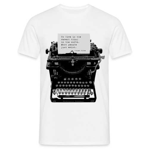 Oscar Wilde Quote on Old Remington 10 Typewriter - Men's T-Shirt