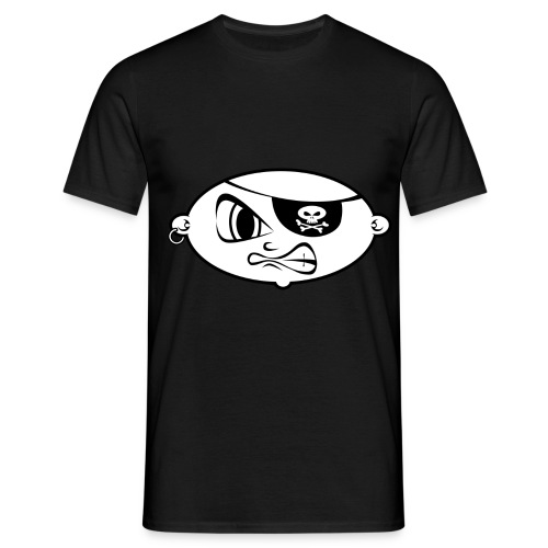 pirate clipart black and white mean pirate kid bl - Mannen T-shirt