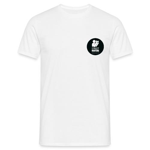 white logo on black circle URL png - Men's T-Shirt