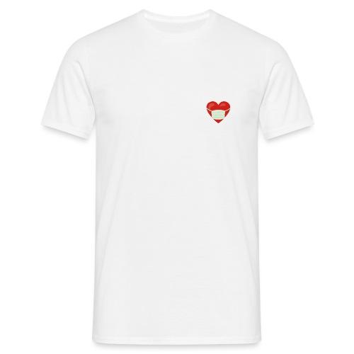 Herz mit Mundschutz - Männer T-Shirt