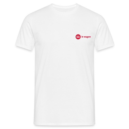 white logo red font - Men's T-Shirt