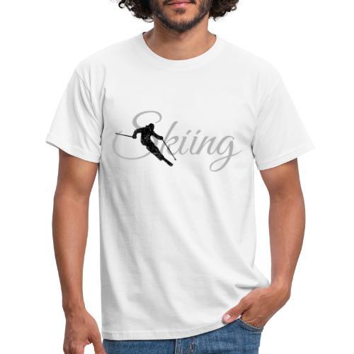 Skiing Skifahrer (Grau) Wintersport Apres-Ski - Männer T-Shirt