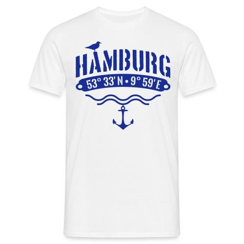 Hamburg Koordinaten Anker Möwe Längengrad - Männer T-Shirt