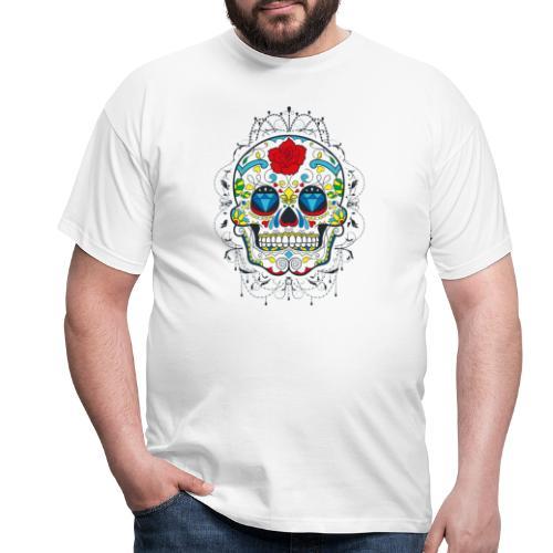 Rose und Diamantschädel - Männer T-Shirt