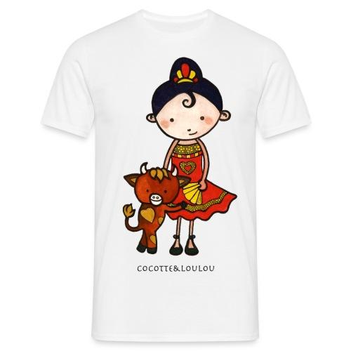 Spanie et castagnette le taurillon - T-shirt Homme
