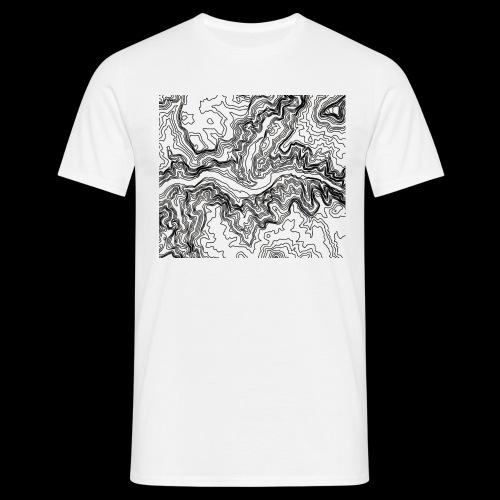 Hoehenlinien schwarz - Männer T-Shirt