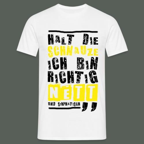 Herren T-Shirt - Richtig nett - weiss - Männer T-Shirt