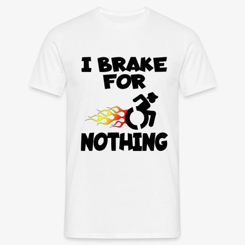 > Ik stop voor niemand in mijn rolstoel, roller - Mannen T-shirt