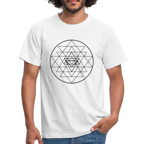 Sri Yantra - black and white - Herre-T-shirt