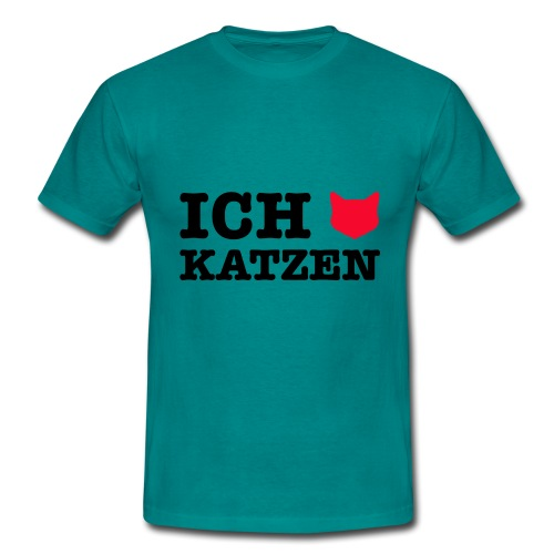 Ich liebe Katzen mit Katze als Herz - Männer T-Shirt