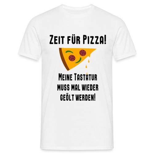 Pizza Essen Tastatur Computer Freak Nerd Spruch - Männer T-Shirt