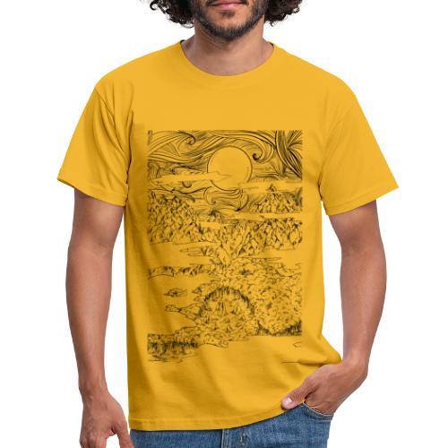 doodle montagna, disegno scena naturale notturna - Maglietta da uomo