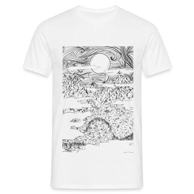 doodle montagna, disegno scena naturale notturna