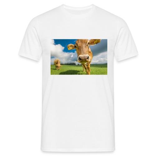 cow switzerland pasture green meadow clouds - Männer T-Shirt