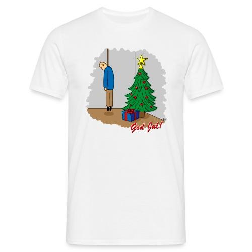 Cyniskt julmotiv - Ensam på julafton - Röd - T-shirt herr