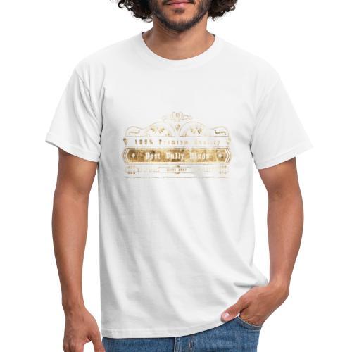 Dobro bester Vully Weinlese-Blau-Rost auf Weiß - Männer T-Shirt