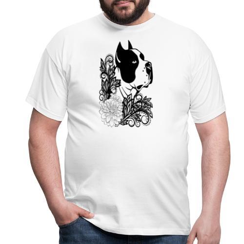 perro con flores - Camiseta hombre