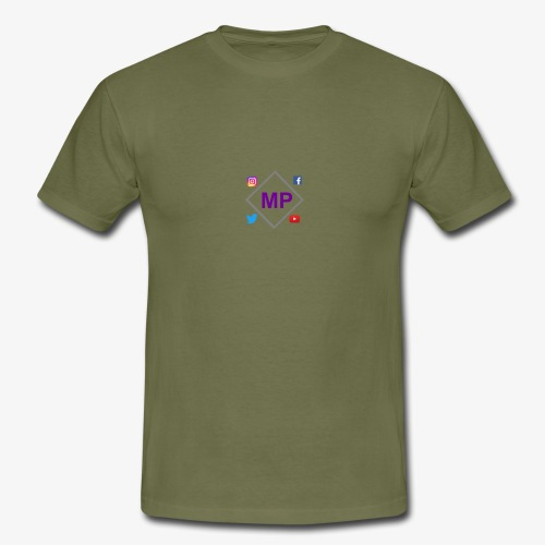 MP logo with social media icons - Men's T-Shirt