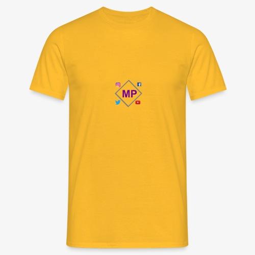 MP logo with social media icons - Men's T-Shirt