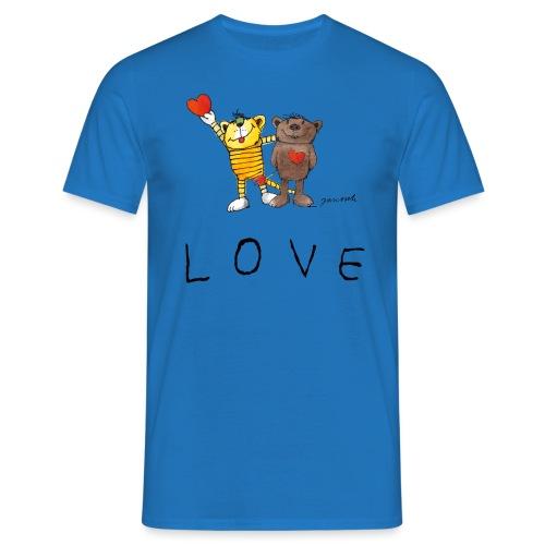 Janosch LOVE Schiftzug Tiger und Bär - Männer T-Shirt