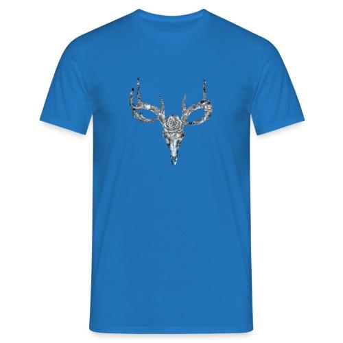 Deer skull with rose - Miesten t-paita