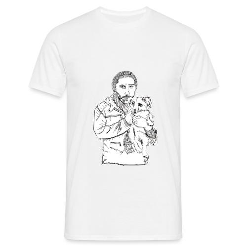 Mann mit Hund auf dem Arm - Männer T-Shirt