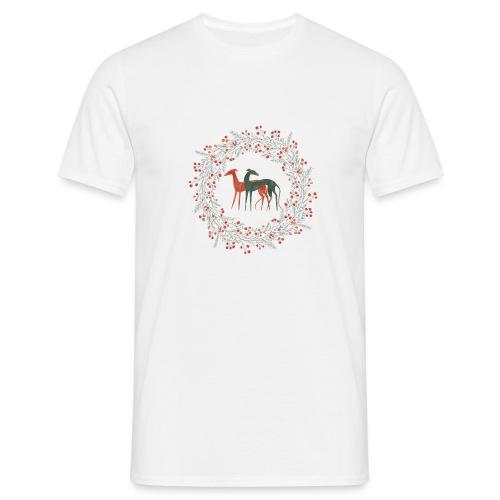 Windhunde im Winterkranz - Männer T-Shirt