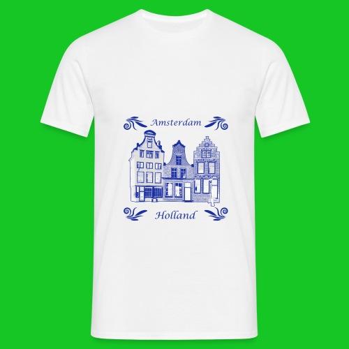 Holland Grachtenpanden Delfts Blauw - Mannen T-shirt