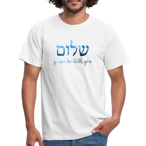 Blaues Aquarell Shalom – Peace be with you - Männer T-Shirt