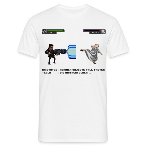 Aristotle vs Tesla - T-shirt Homme