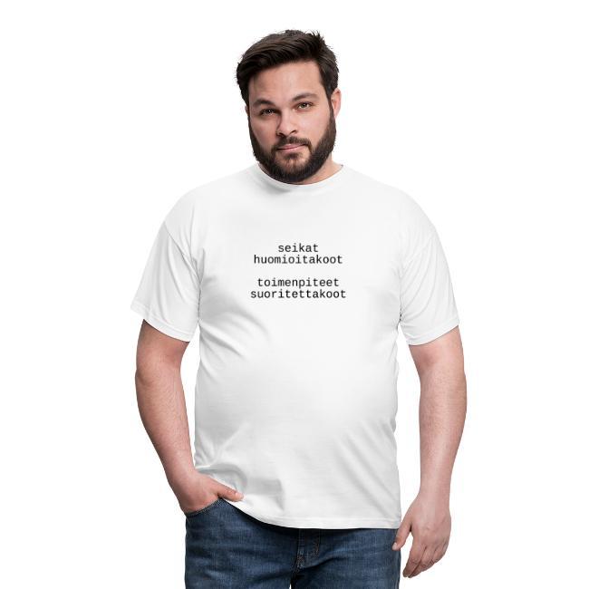 Yleiskäyttöinen mielenosoitus-T-paita (lakoninen)