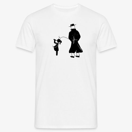 Pissing Man against irresponsible pregnancies - Männer T-Shirt