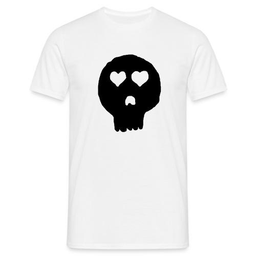 Schädel mit Herzen als Augen - Männer T-Shirt