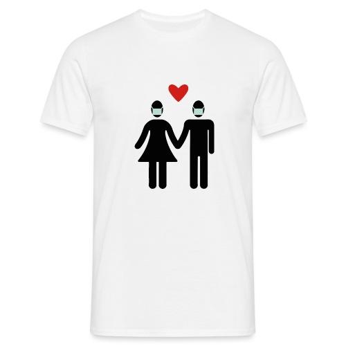 Liebespaar mit Mundschutz - Männer T-Shirt