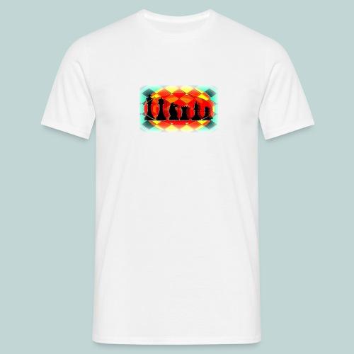 Schachfigurengruppe vignettiert - Männer T-Shirt