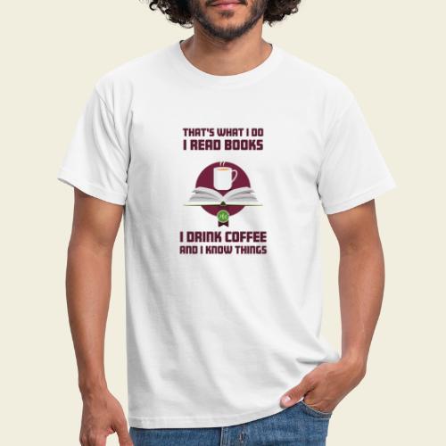 Buch und Kaffee, dunkel - Männer T-Shirt