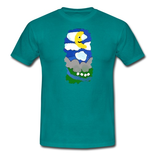 smiling moon and funny sheep - Men's T-Shirt