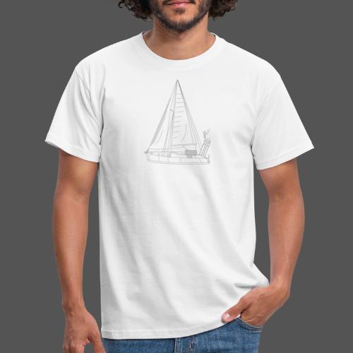 Zeichnung Segelboot Segel hoch - Männer T-Shirt