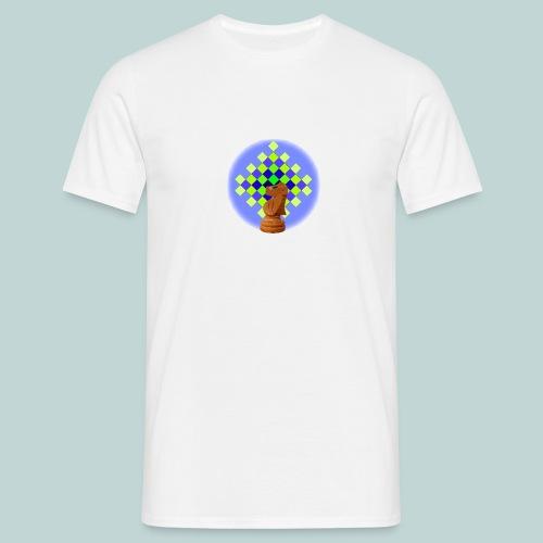 schachbrett_blaugruen_und_gr_pferd - Männer T-Shirt