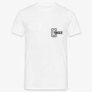 thiccc logo WHITE and BLACK - Men's T-Shirt