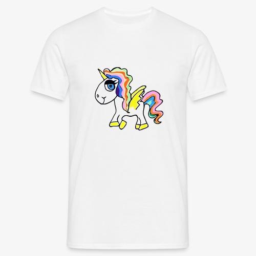 Buntes lässiges Einhorn - Männer T-Shirt